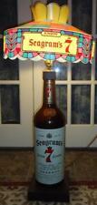 Vtg RARE Seagram's 7 Crown Whiskey Bottle Lamp Stained Glass Shade Bar Light