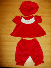 """16"""" CPK Cabbage Patch Kids Christmas Red Panne Velvet set w /candy cane button"""