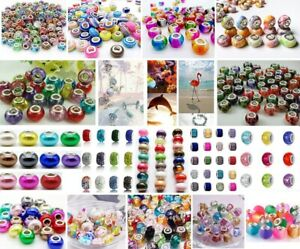 50PCS Assorted European Beads Big Hole Spacer for DIY Jewelry Making Bracelets