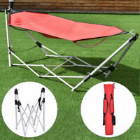 Portable Folding Hammock Lounge Camping Bed Steel Frame Stand W/Carry Bag Red