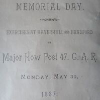 1887 GRAND ARMY OF THE REPUBLIC MEMORIAL DAY PROGRAM MAJOR HOW POST 47