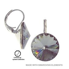 14mm Earrings with Swarovski Elements, Colour: Black Diamond