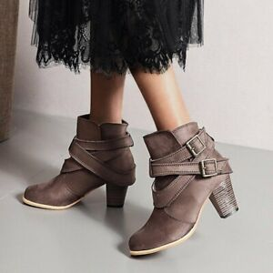 Women's Ankle Boots Fashion Chunky Heels Modern Retro Buckle Strap Party Cowboy