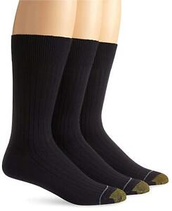 Gold Toe Men's Classic Canterbury Crew Socks (Pack of 3), Navy,, Navy, Size 6.0