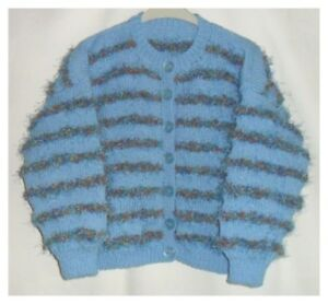 Girls Hand Knitted Fluffy Cardigan