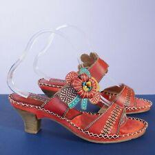 L'Artiste Spring Step Womens Oceanside Heeled Sandals Size 39 / 8.5 Red Leather