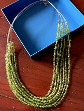 New Green Peridot Crystal Strand Necklace with Sterling Silver Clasp