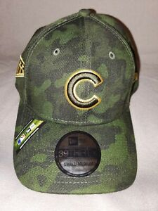 CHICAGO CUBS NEW ERA 39 THIRTY CAMO GREEN GOLD SM MED STRETCH FIT MENS HAT ARMED