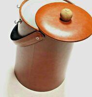 Georges Briard New York Vintage 1960s Leather Ice Bucket w/ Lid Luxury Barware