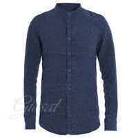 Camicia Uomo Collo Coreano Tinta Unita Blu Lino Maniche Lunghe Casual GIOSAL