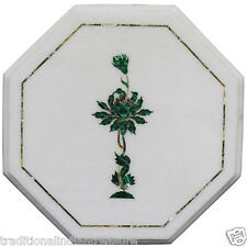 """12"""" White Marble Coffee Center Table Top Marquetry Malachite Inlay Mosaic Decor"""
