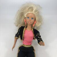 Vintage Barbie Doll 1975 Pink Shirt Earrings Black Disco Outfit Mattel 1980s