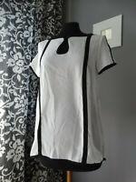 Top contrasto bianco nero maglietta maglia chiffon manica corta camicetta S M L