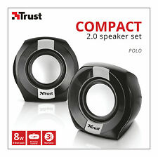 TRUST 20943 POLO 2.0 8W MAX 4W RMS USB POWERED SPEAKER SET FOR PC LAPTOP ETC