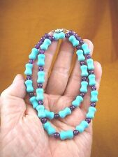 "(v326-41) 18"" long Turquoise gemstone + purple Amethyst beaded gemstone Necklace"