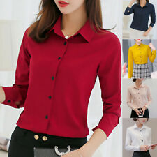 RequiWomen Blouse Long Sleeve Tops Button Chiffon Office Lady Work Formal Shirts