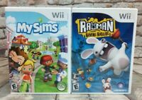 Nintendo Wii Video Game Bundle ~ MySims & Rayman Raving Rabbids Both Complete