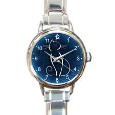 Cute Cat Watch Blue Animal Italian Charm Watch Bracelet Ladies Gift Present