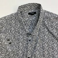 Alfani Button Up Shirt Mens XXL White Black Abstract Long Sleeve Casual