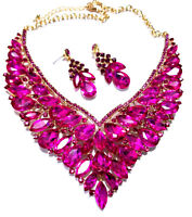 Rhinestone Austrian Crystal Choker Necklace Earring Pageant Drag Prom Hot Pink