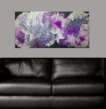 Purple Plum Black Hand Painted Abstract Seascape Canvas Painting Original Art