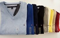 NWT Tommy Hilfiger V Neck Solid Pacific Man Jumper Sweater For S M L XL 2XL