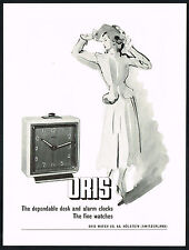 1940's Vintage 1949 Oris Swiss Watch Co. Alarm Clock Mid Century Art Print AD