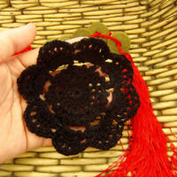 4Pcs/Lot Black Vintage Hand Crochet Lace Doilies  Small Coasters Set Pattern 4""