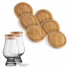 CairnCaps Bamboo Whiskey Glass Lids - Set of 6 Caps for Glencairn Whisky