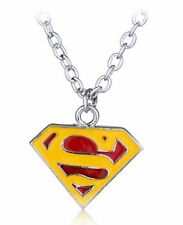 Superman Pendant Necklace + Chain Super Man Logo Silver Colour Red Yellow S SML