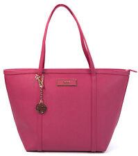 NWT DKNY Donna Karan Magenta Saffiano Leather Large Top Zip Tote
