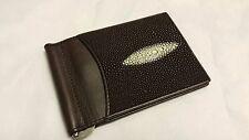Genuine Stingray Wallets Skin Leather Bifold Money Clip Men's Brown Purse Wallet