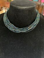 Vintage Multi Tone Green Crystal Shimmering Multi Strand Choker Necklace
