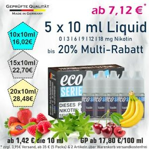 5x10ml Liquid Probierbox 17,80€/100ml ECO eLiquid Frucht Tabak Frucht Nikotin