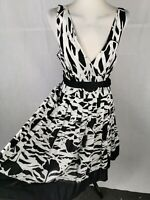 Ladies Dress Size 12 14 LAPIS Black White Cotton Fit And Flare Party Summer