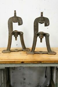 Cast Iron industrial Legs Brackets Machine age Table Bench Base Antique
