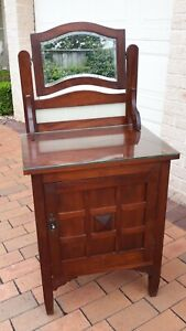 Gorgeous Antique Bedside Cupboard with Mirror & Glass Top. Aust Made Great Cond