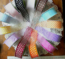 Sheer WHITE SPOTTED 37/38mm wide 3 metre length 13 Mixed colours Choice BLD6