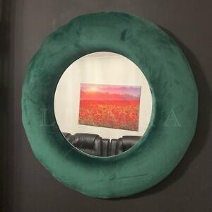 50cm Round Wall Mirror Round Velvet Frame Wall Mirror Emerald Green Round Mirror