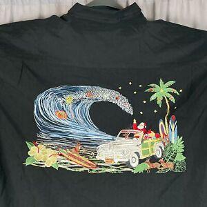 Big Wave Santa Christmas Camp Shirt 3XL Embroidered Bamboo Cay Woodie Surfboard