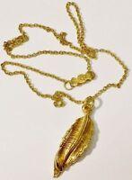 pendentif collier bijou vintage couleur or modèle feuille relief * 5304