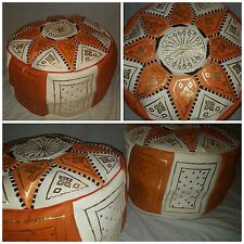 MOROCCAN REAL LEATHER POUFFE HANDMADE STITCHED FOOTSTOOL BEANBAG