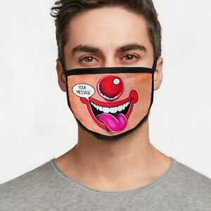 Personalised Washable Protection Clown Face Mask-Customised with Message