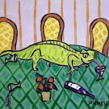 Lizard wine picture Animal Reptile art tile coaster