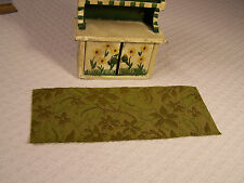 """DOLLHOUSE MINI RUG #26B RECTANGLE  8-1/2"""" x 3-3/8"""" OLIVE GREEN & GOLD FLORAL"""