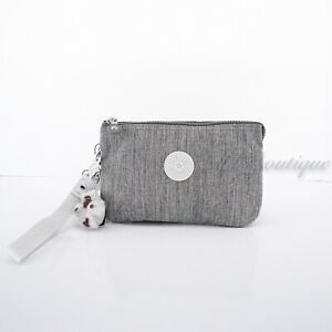NWT New Kipling KI1089 Creativity XL Extra Large Pouch Polyester Shaded Grey $45