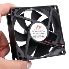 DC 12V 0.18A 80mmx25mm 8025 4-Wire Computer Case Cooling Fan Cooler Black