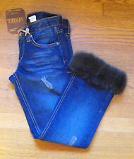 NWT Street Denim Blue Capris/Cropped JEANS with FUR CUFFS ~ 100% Cotton ~ Size 1
