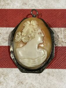 Sterling Silver Cameo Brooch Pendant