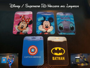 Disney Stitch, Minnie, Mickey, Superhero - ID Holder & Lanyard - Fast Free Post